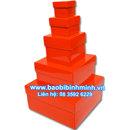 Hộp nắp chồng màu đỏ bóng (5 kích cỡ)