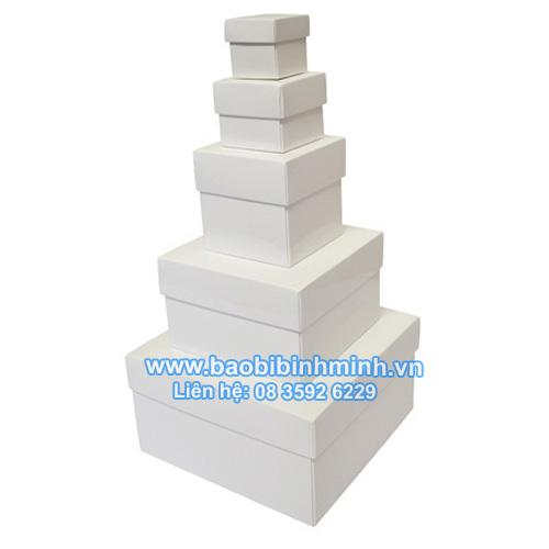 Hộp nắp chồng màu trắng bóng (5 kích cỡ khác nhau)