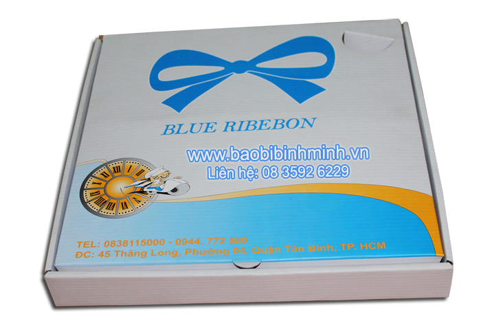 Hộp Pizza BLUE RIBEBON in offset