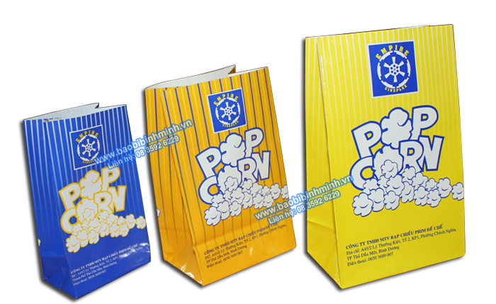 Túi giấy đựng Bắp rang chuyên dụng cho Rạp chiếu phim
