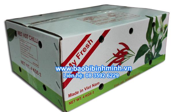 thùng carton chống thấm đựng ớt xuất khẩu