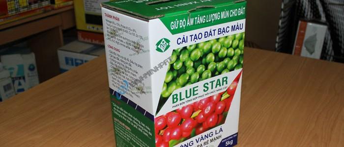 Thùng carton phân bón BLUE STAR thành phẩm.