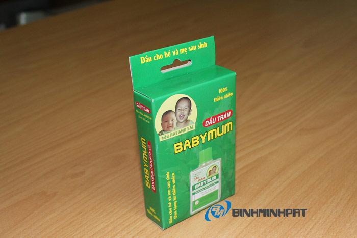 Hộp giấy in offset thương hiệu dầu tràm Baby Munm