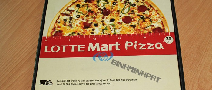 Hộp Pizza Lotte Mart 3 lớp in offset,