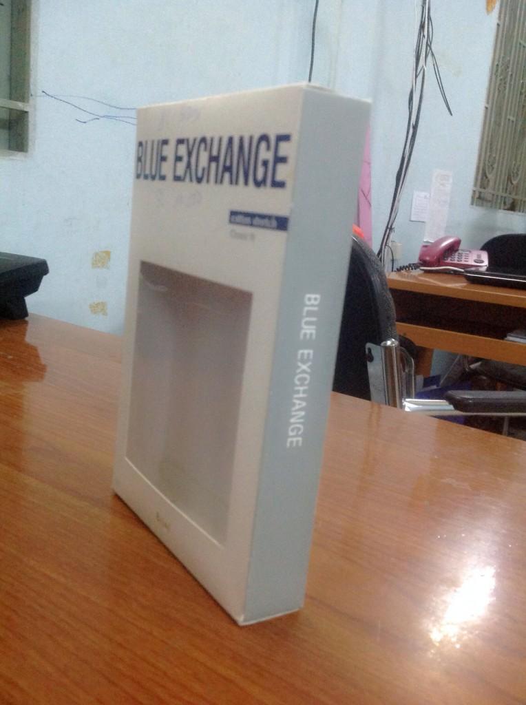 mẫu hộp giấy Blue Exchange cạnh hông