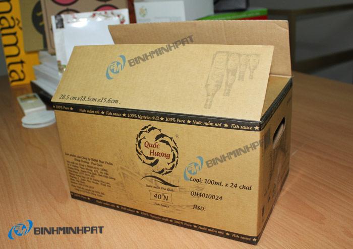 thùng carton in offset đựng nước mắm làm bằng giấy Kraf