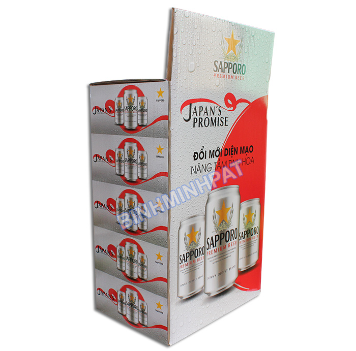 Sản xuất thùng carton trưng bày Bia Sapporo -02