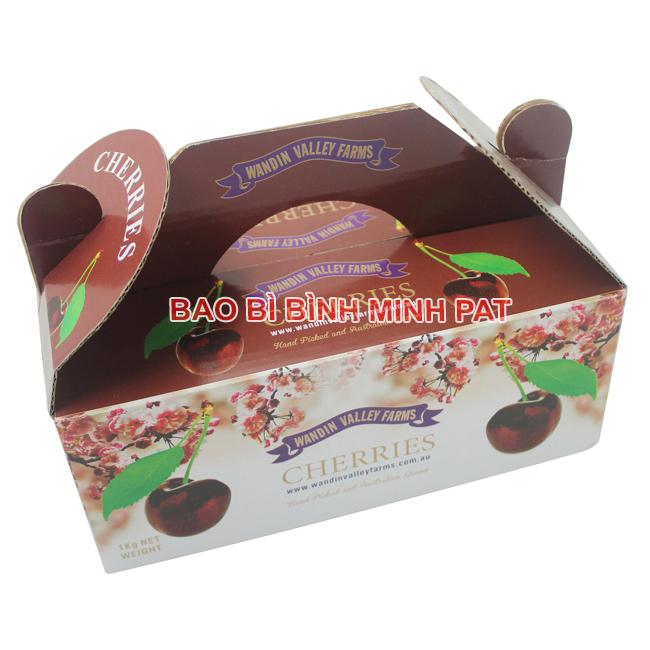 In hộp giấy đựng quả Cherry nhập khẩu