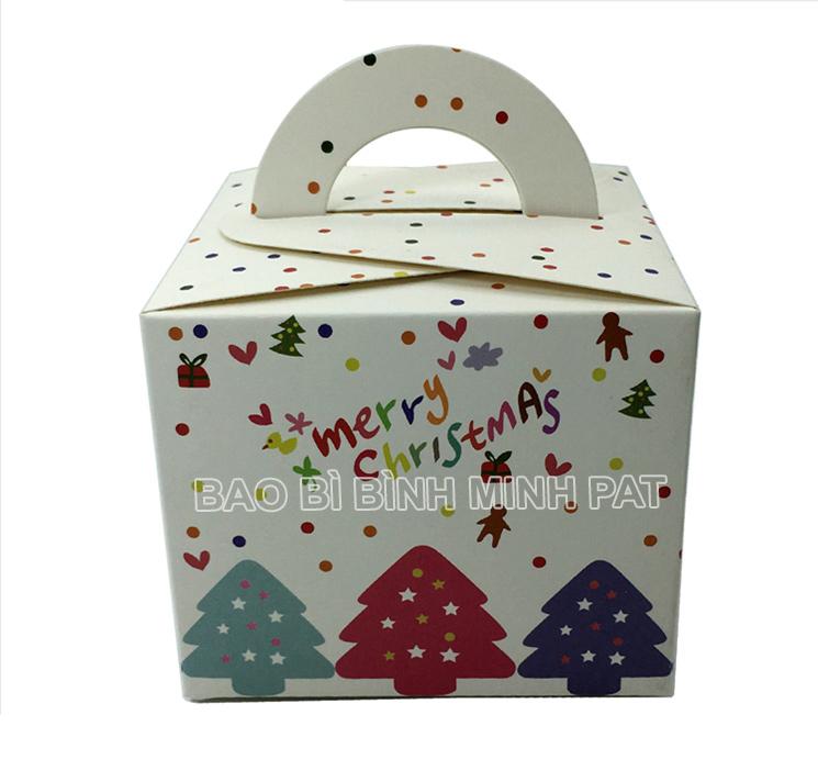 in hộp giấy đựng bánh kem mùa Noel – mẫu 01