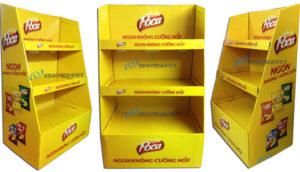 Kệ giấy trưng bày sản phẩm bánh Snack Poca